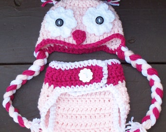 Hand Made Crochet Owl Hat and Diaper Cover for a Girl-Photo Prop for Baby Newborn