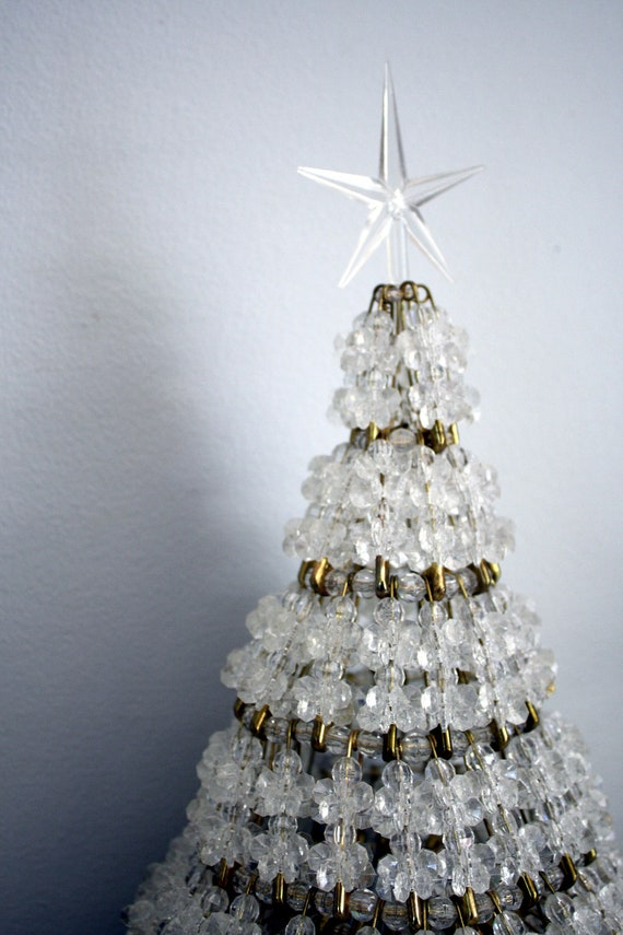 Beautiful 70s Crystal Beaded Safety Pin Christmas Tree Topper