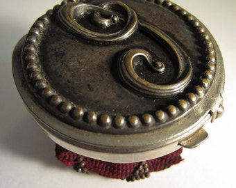 Antique Victorian SILVER Plate Initial J, lid 1900 Coin Purse Bag, Beaded, Burgundy