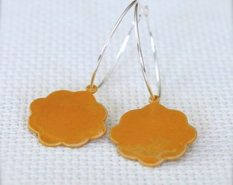 Sterling Silver Hoop Earrings with Saffron Yellow Patinated Brass Flowers - Blooming // A225