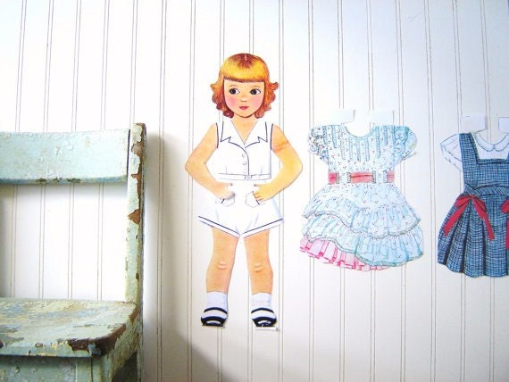 Vintage Wall Hanging Large Paper Doll and Dresses Set