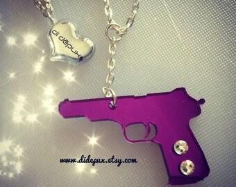 La!! Gun purple mirror necklace