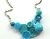 Funky Fashion Small Vintage Button Necklace in Bright Blue - buttonsoupjewelry
