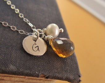 Personalized birthstone necklace, November birthstone, citrine, custom initial, silver monogram, silver initial necklace, freshwater pearl