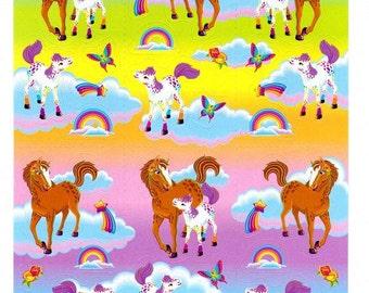 Lisa Frank Rainbow Chaser Horse and Lollipop Foal Sticker Sheet