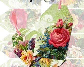 Vintage Floral Printable Tags Instant Download