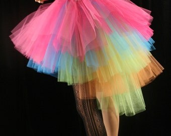 Neon Ring Master adult tutu skirt huge poofy costume rainbow pride dance halloween carnival noir - You Choose Size - Sisters of the Moon