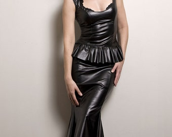 Hobble Skirt in Faux Leather or PVC-Made to Order