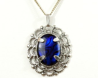 Gothic Faerie Victorian Style Silver Filigree Necklace with Royal Blue Paua Cabochon by Velvet Mechanism