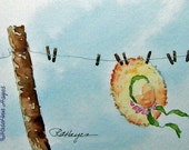 Sunbonnet Clothesline Print of Watercolor Painting ACEO