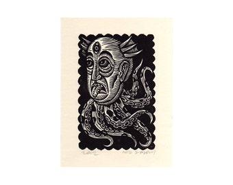 Weird Art, Monster Linocut Print - Sci-Fi Octopus Man Linocut Art Print, fantasy, sci-fi wall decor, Octoman Print