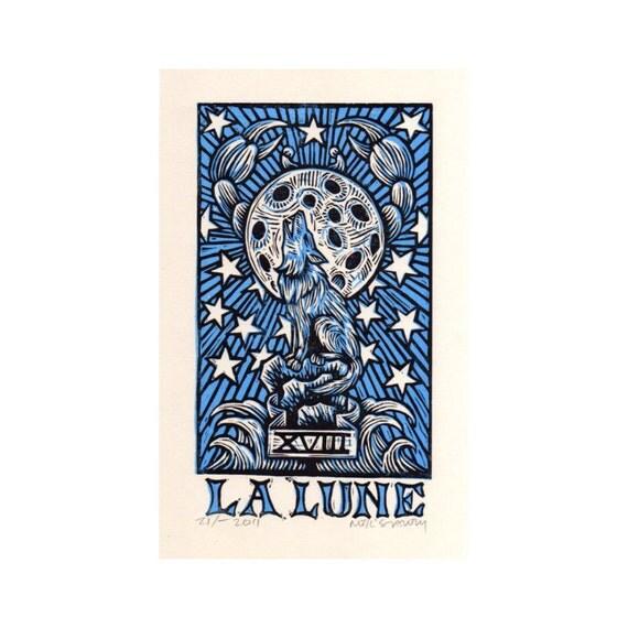 Moon La Lune Tarot Linocut Art Print
