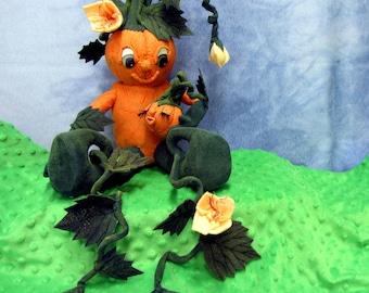 Primitive Pumpkin Doll,  Soft Sculpture, PDF Pattern, Pumpkin, Pumpkin Doll