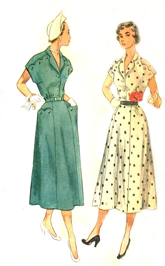 1950s Scalloped Dress Vintage Sewing Pattern - Simplicity 3281 - V Neckline / Kimono Sleeves - Plus Size Bust 44 Uncut