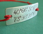 Latitude and Longitude Cotton Cord Bracelet in Sterling Silver with Adjustable Sliding Knot - Custom Hand Stamped