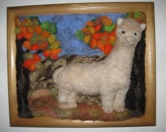 Spirit Art  3-Dimensional  Alpaca in Autumn  Portrait by artist and animal communicator Karen Clothier
