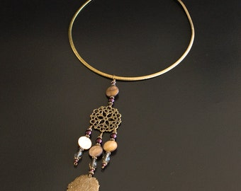 Bronze Necklace with Filigree Elements, Purple Pearls and Khaki Drop Beads Pendant. Flat Snake Boho Necklace Native American Style. S95