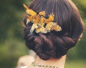 Butterfly hair comb, whimsical accessory, monarch head piece, woodland wedding - COCOON