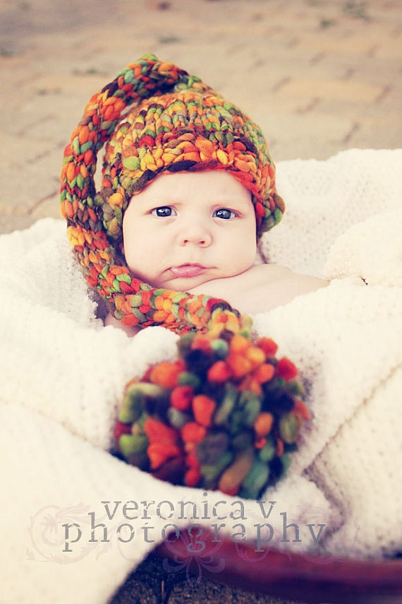 NEWBORN Photography Prop - Baby Knit Hat - Twin Prop - Elf
