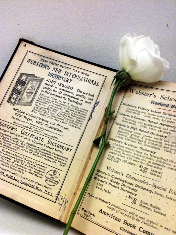 1800s,Old Book,Old School Book,Vintage Dictionary,1892,Shabby Chic,Rustic,Teachers Gift,Antique Book,School Book,Gift Book,Photo Prop