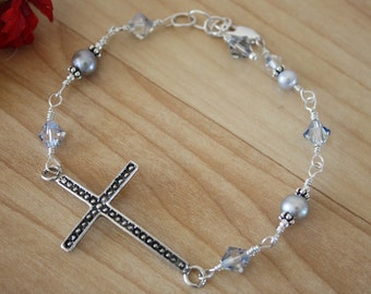 Cross Sideways Bracelet, Cross Bracelet, Silver Cross Bracelet, Gray Bracelet, Sterling Silver Cross Sideways