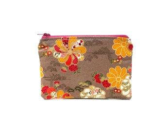 Mini Zipper Pouch / Pretty Camera Bag in Oriental Floral Print