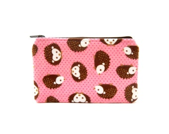 CLEARANCE Mini Zipper Pouch / Cute Camera Bag in Hedgehogs and Pink Polka Dots