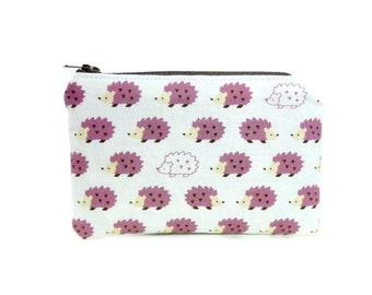 Hedgehog Zipper Pouch / Hedgehog Camera Bag in Lilac Purple
