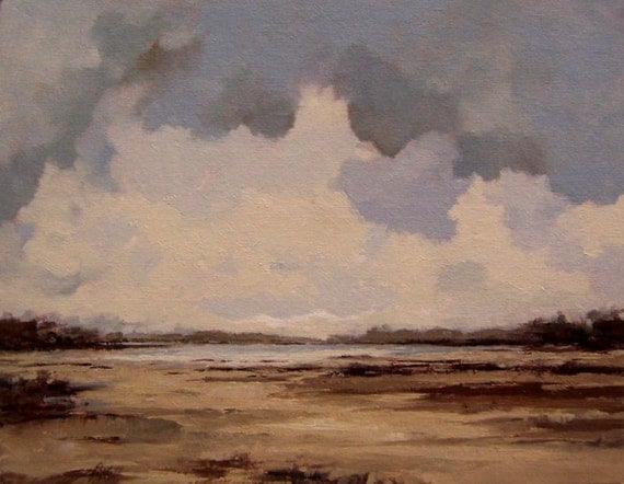 oil painting landscape original 100% charity donation, oil painting, PALE NOON RISING, 11x14 on canvas panel, clouds, blue gray, sand