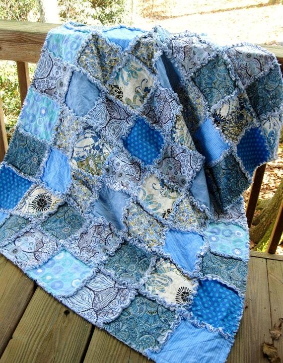 Bluer Than Blue - a rag throw / quilt