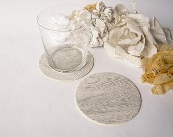 6 Faux Bois Paper Coasters - Soft Gray