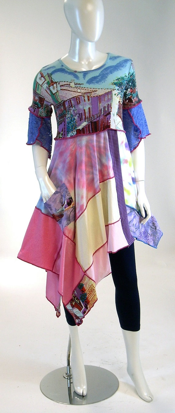 SALE/ CLEARANCE Blue and Periwinkle Cool Breeze Tunic,  Size Small ( 8-10) ,Scenic Tie Dye Pattern