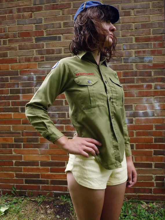 70s Forest Green Ohio Boy Scout Button Up - XS