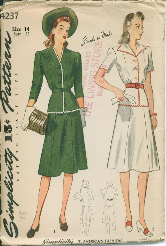 1940s simplicity 4237 jacket blazer top and skirt by ohsewcharming
