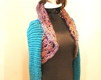 Crop Sweater Shrug in Turquoise and Variegated Rose Size SMALL