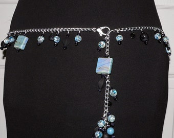 "Silver Chain Belt, Statement Jewelry, Belly Jewelry, Beaded Belt,  46"" Blue Bead, Beaded Necklace, Gift for Her"