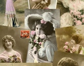 Victorian Ladies no.04 - 50 Digital Printable Postcard scans for scrapbooking collage art atc aceo cardmaking