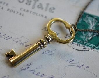 sale - antique skeleton key necklace - nana's key - brass skeleton key charm jewelry