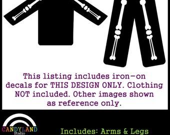 Arm & Leg Bones Iron on Decals for DIY X-Ray Pregnant Skeleton Costume Matches Maternity Halloween Costume