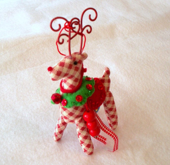 Felt Art Doll Christmas Reindeer Hanging ornament