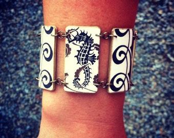 Seahorse Bracelet - Art Deco Seahorse Bracelet - Art Deco - Ocean Jewelry - White Jewelry-Shrink Plastic-Swirls - Sea Creature - Art Jewelry