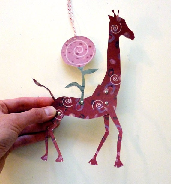 2 Printable Candy Giraffe Paper Puppet Dolls for for Gift Tags, Garland, Paper Crafts, Red, Green
