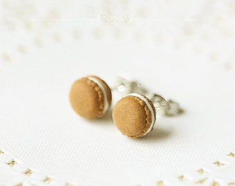 Clay Macarons Earrings - Chocolate Milk Macarons Earrings