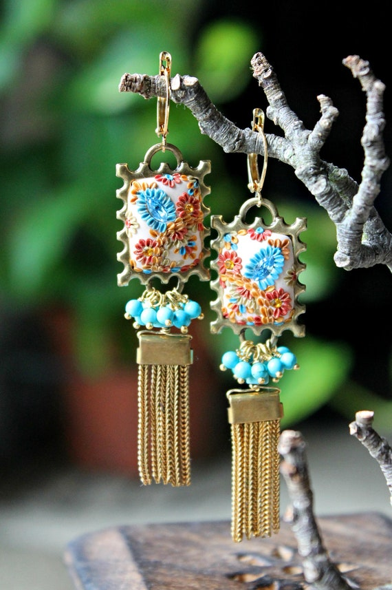 Turquoise clusters , Vintage stamp shaped  filigree and clay floral  gold tassel earrings - A Tango in Summer