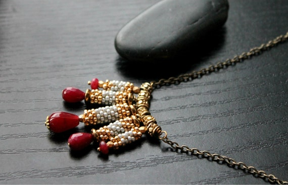 Long Brass Ruby Necklace with seedbeads,bali spacers-statement necklace rubies and diamonds - Columns of Grace
