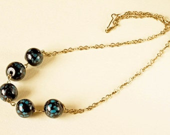 REDUCED Art Deco Mottled Black and Turquoise Glass Bead Necklace; Gold toned, Infinity Chain, Simple Understated Spring Summer Jewellery