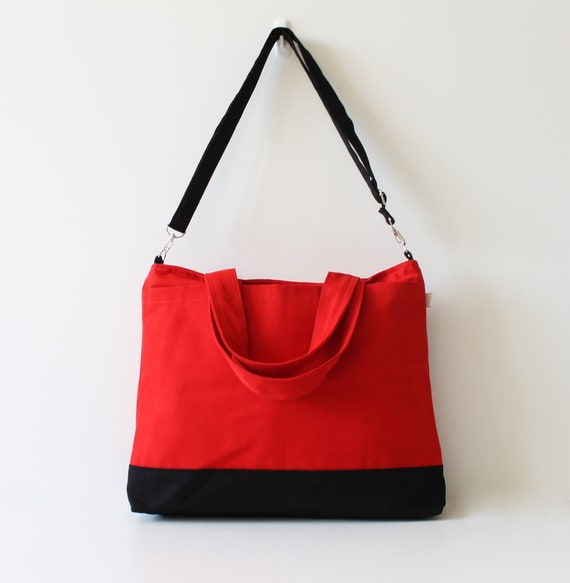 Worthy Bag in Bright Red with Black - UNISEX - multi functional handstiched - handbag -  carry bag - macbook pro - large - christmas