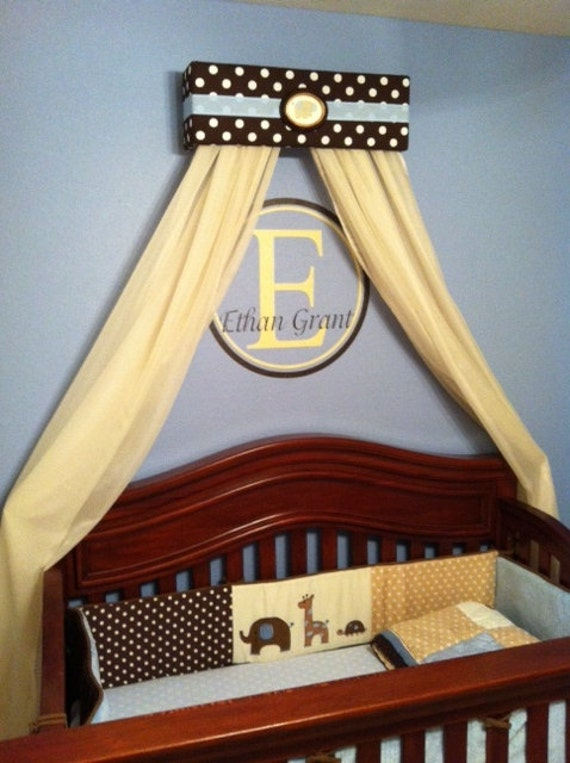 Prince Boy Crib Nursery Crown Bed Canopy Padded Embroiderd