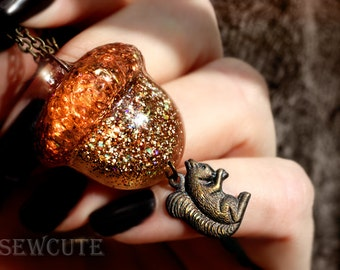 Jewelry Fall Acorn Squirrel Autumn Woodland Lover's Resin Pendant Necklace... vintage style modern flair by isewcute