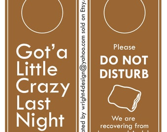 Brown Wedding, Bachelor, Bachelorette, Guest Door Hanger - Custom Made to order. DO NOT DISTURB.